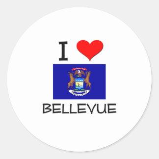Amo Bellevue Michigan Etiquetas Redondas