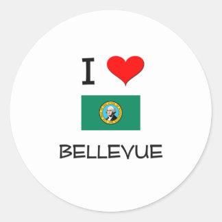 Amo Bellevue Washington Etiqueta Redonda