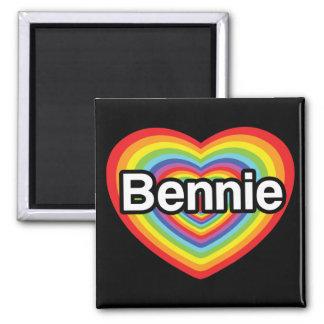 Amo Bennie: corazón del arco iris Imán Cuadrado