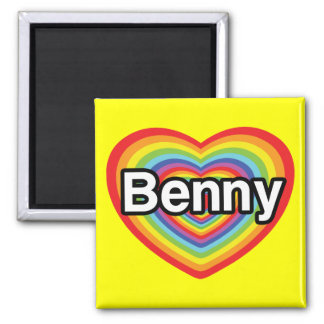 Amo Benny: corazón del arco iris Imán Cuadrado