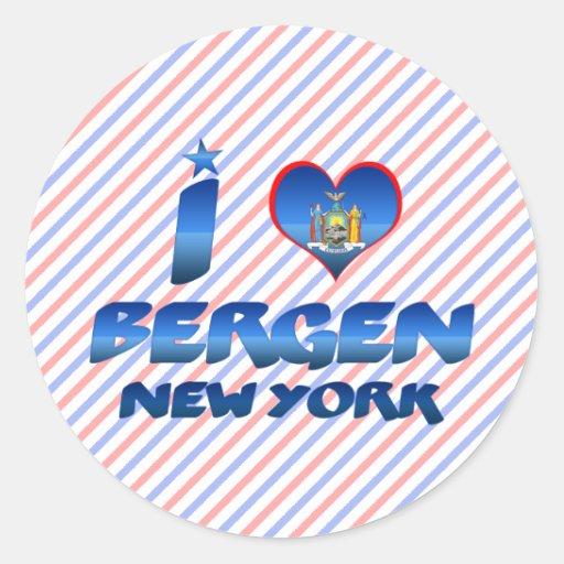 Amo Bergen, Nueva York Pegatina Redonda