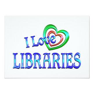 Amo bibliotecas invitación 13,9 x 19,0 cm
