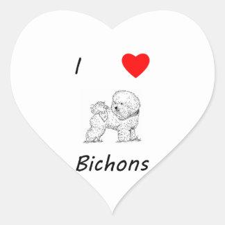 Amo Bichons Pegatina En Forma De Corazón