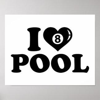 Amo billares de la piscina poster