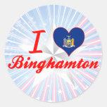 Amo Binghamton, Nueva York Etiqueta Redonda