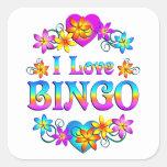 Amo bingo colcomanias cuadradas personalizadas