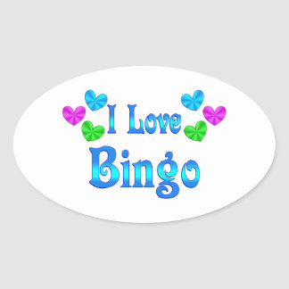 Amo bingo pegatina ovalada
