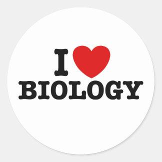Amo biología pegatina redonda
