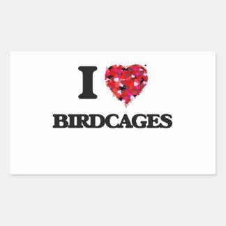 Amo Birdcages Pegatina Rectangular