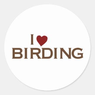 Amo Birding Pegatina Redonda