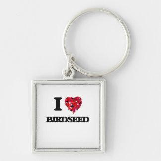 Amo Birdseed Llavero Cuadrado Plateado