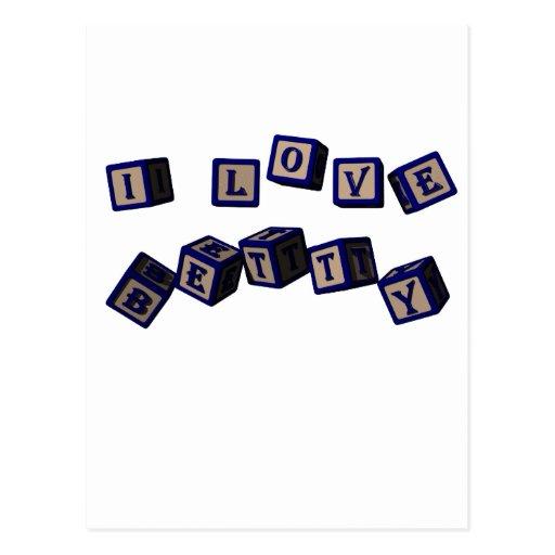 Amo bloques del juguete de Betty en azul Postal