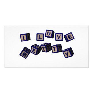 Amo bloques del juguete de Betty en azul Tarjetas Fotográficas Personalizadas