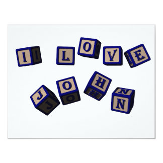 "Amo bloques del juguete de Juan en azul Invitación 4.25"" X 5.5"""