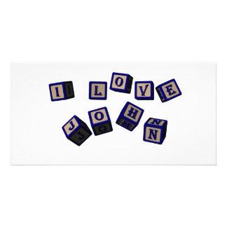 Amo bloques del juguete de Juan en azul Tarjetas Personales
