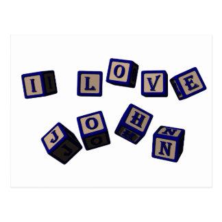Amo bloques del juguete de Juan en azul Tarjeta Postal