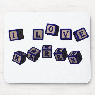 Amo bloques del juguete de Karen en azul Mouse Pads