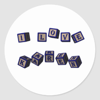 Amo bloques del juguete de Karen en azul Pegatina Redonda