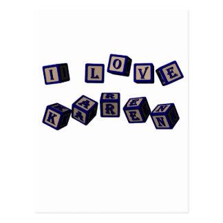Amo bloques del juguete de Karen en azul Tarjetas Postales