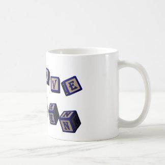 Amo bloques del juguete de Karen en azul Taza De Café