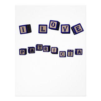 Amo bloques del juguete de Patricia en azul Membrete A Diseño