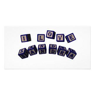 Amo bloques del juguete de Sandra en azul Tarjetas Personales