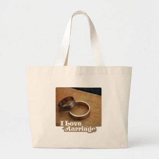 Amo boda que los anillos satisfacen bolsa tela grande