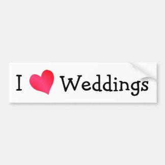 Amo bodas pegatina de parachoque