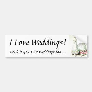 ¡Amo bodas! Pegatina para el parachoques Etiqueta De Parachoque