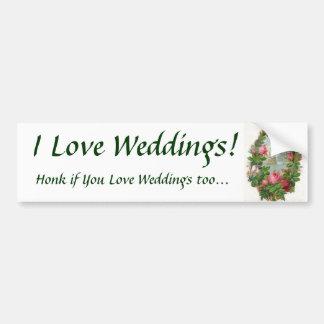¡Amo bodas! Pegatina para el parachoques Pegatina Para Auto