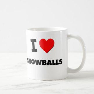 Amo bolas de nieve taza de café