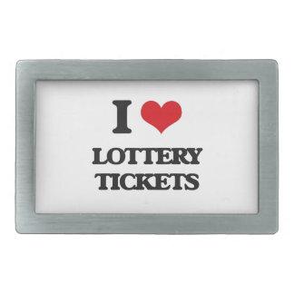 Amo boletos de lotería hebillas cinturón rectangulares