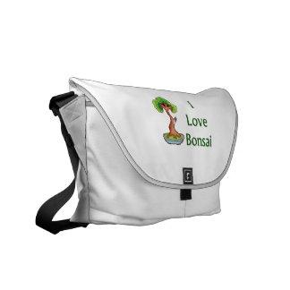 Amo bonsais en graphi verde del árbol del shari de bolsa de mensajeria