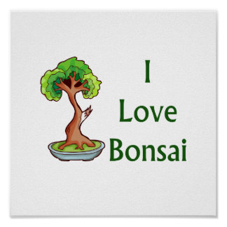 Amo bonsais en graphi verde del árbol del shari de póster