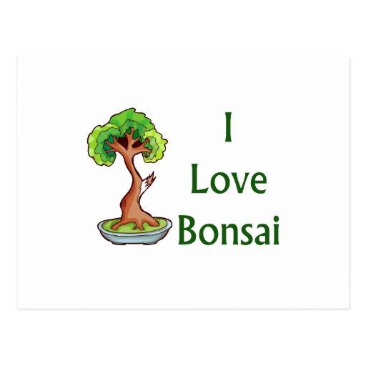 Amo bonsais en graphi verde del árbol del shari de postales