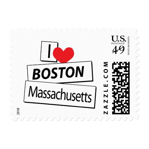 Amo Boston Massachusetts Estampilla