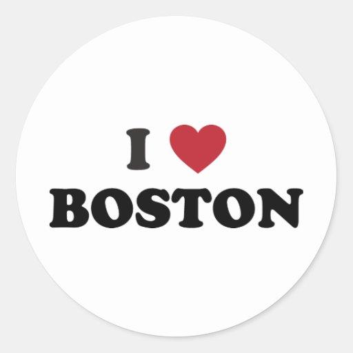 Amo Boston Massachusetts Pegatina Redonda