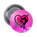 Amo botón del patinaje artístico, en rosa pins