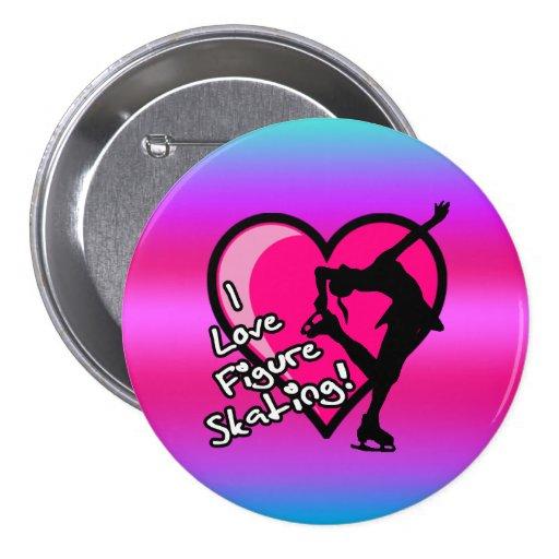 Amo botón del patinaje artístico, en rosa y púrpur pin redondo de 3 pulgadas