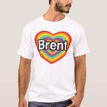 Amo Brent: corazón del arco iris Playera