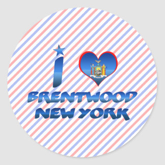 Amo Brentwood, Nueva York Pegatina Redonda