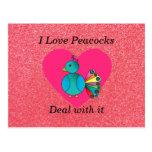 Amo brillo del rosa de los pavos reales postal