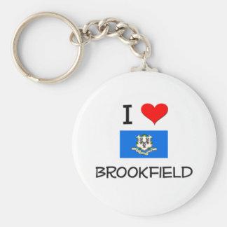 Amo Brookfield Connecticut Llavero Redondo Tipo Pin