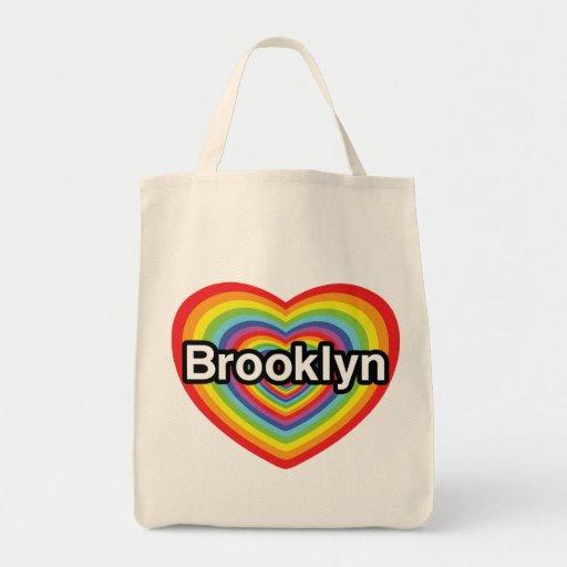 Amo Brooklyn: corazón del arco iris Bolsa Tela Para La Compra