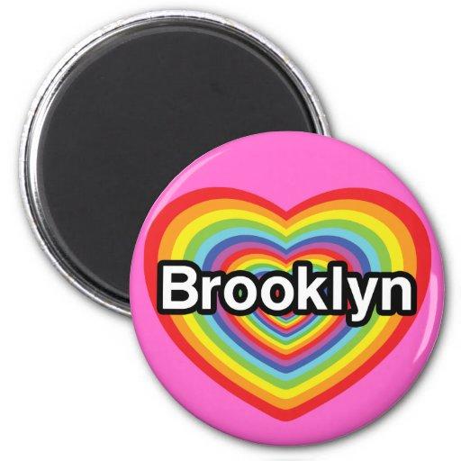 Amo Brooklyn: corazón del arco iris Imán Redondo 5 Cm