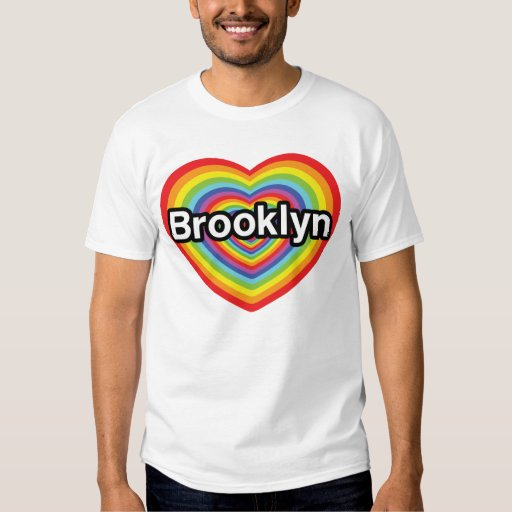 Amo Brooklyn: corazón del arco iris Playeras