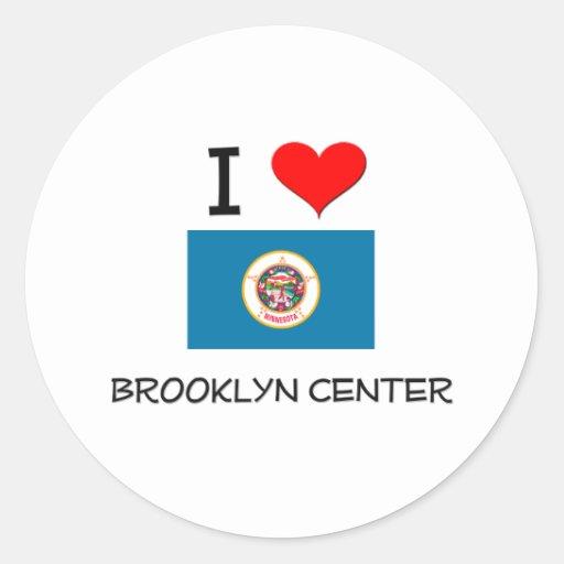 Amo Brooklyn Minnesota de centro Pegatina Redonda