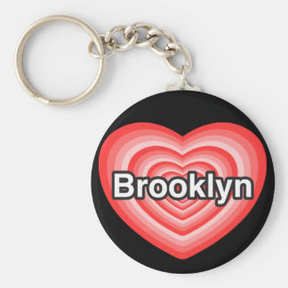 Amo Brooklyn. Te amo Brooklyn. Corazón Llavero Redondo Tipo Pin