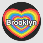 Amo Brooklyn. Te amo Brooklyn. Corazón Pegatinas Redondas