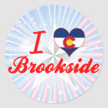 Amo Brookside, Colorado Pegatina Redonda